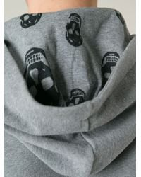 Alexander McQueen Gray Drawstring Cotton Hoodie for men