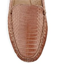 Lauren by Ralph Lauren | Brown Carys Textured Leather Loafers | Lyst