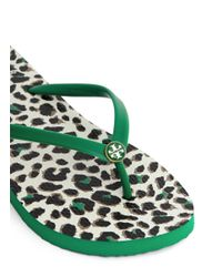 Tory Burch Green 'thin' Animal Print Thong Sandals