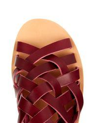 Ancient Greek Sandals Purple Aristotelis Leather Sandals for men