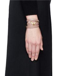 Valentino | Natural 'v' Charm Leather Wrap Bracelet | Lyst