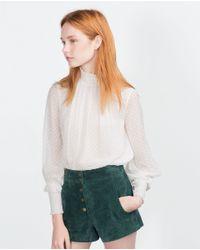 Zara | Natural Plumetis Top | Lyst