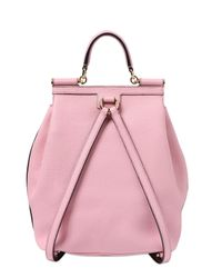 Dolce & Gabbana Pink Sicily Grained Leather Backpack