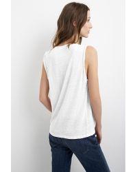 Velvet By Graham & Spencer White Malana Linen Knit Shoulder Pleat Tank Top