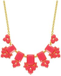kate spade new york | Pink Gold-tone Epoxy Stone Necklace | Lyst