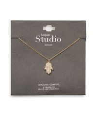 Sequin - Metallic Pavã Hamsa Hand Necklace - Lyst
