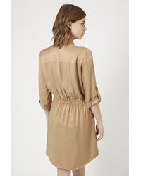 TOPSHOP - Natural Utility Twill Shirt Dress - Lyst