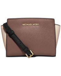 Michael Kors | Black Michael Selma Mini Messenger Bag | Lyst