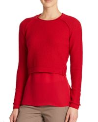 Elie Tahari Red Giada Sweater & Blouse Set
