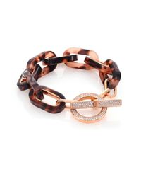 Michael Kors | Pink Jeweled Blush Tortoise-print Pavé Toggle Bracelet | Lyst