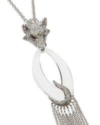 Alexis Bittar Metallic Large Wolf Pendant Necklace