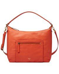 Fossil Orange Vickery Leather Shoulder Bag