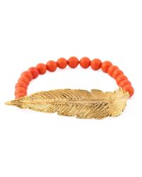 Leivan Kash | Orange Beaded Feather Bracelet | Lyst