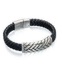 Fred Bennett | Black Leather Woven Bracelet for Men | Lyst
