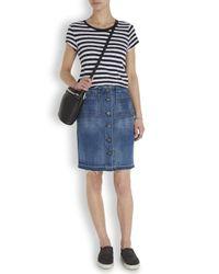 Rag & Bone Blue Santa Cruz Frayed Denim Skirt