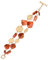 Kenneth Cole | Orange Gold-tone Mixed Shell Bead Two-row Toggle Bracelet | Lyst