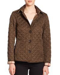Burberry | Green Ashurst Diamond-quilted Jacket | Lyst