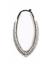 Ellen Conde | Metallic Triple Tier Crystal And Powder Green Pearl Sr8 Necklace | Lyst