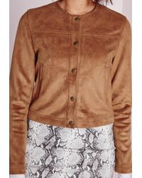 Missguided | Brown Collarless Suede Jacket Tan | Lyst