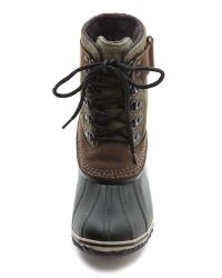 Sorel Winter Fancy Lace Up Boots - Peatmoss/Black