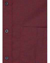 Zegna Sport Red And Navy Gingham Cotton Shirt for men