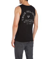 True Religion - Black Crafted With Pride Printed Logo Vest for Men - Lyst