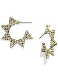 House of Harlow 1960 | Metallic Pavé Geodesic Triangle Mini Hoop Earrings | Lyst