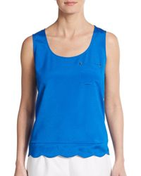 Ivanka Trump | Blue Studded Pocket Tank | Lyst