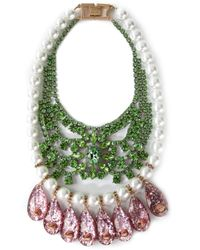 Mawi | Green Embellished Bib Necklace | Lyst