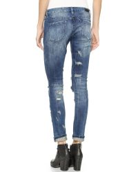 Blank   Blue Skinny Distressed Jeans - Barefoot And Busted   Lyst