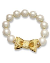 kate spade new york | White 12k Gold-plated Glass Pearl Strand Bracelet (12mm) | Lyst