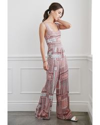 Forever 21 | Pink Abstract Grid Cutout Jumpsuit | Lyst
