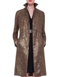 Akris - Metallic Foiled Crepe Mid-length Coat - Lyst