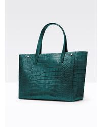 Vince - Green Signature Collection Croc-Embossed Tote - Lyst