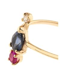 Loren Stewart Blue Diamond, Ruby, Sapphire & Gold Scarlett Peak Ring