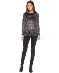 Cynthia Rowley | Blue Lace High Neck Blouse | Lyst