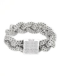 John Hardy | Metallic Diamond & Sterling Silver Bracelet for Men | Lyst