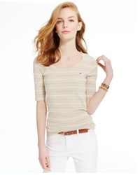 Tommy Hilfiger | Natural Striped Scoop-neck Tee | Lyst