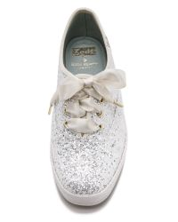 kate spade new york White Glitter Keds Sneakers - Blue