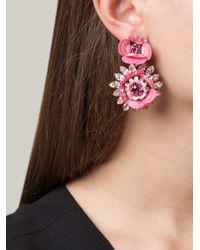 Shourouk | Pink Flower Clip-on Earrings | Lyst