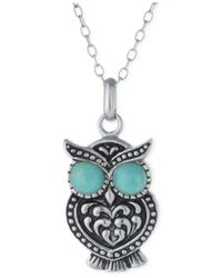 Macy's - Blue Reconstituted Turquoise Owl Pendant Necklace In Sterling Silver - Lyst