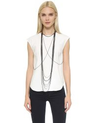 Chan Luu - Metallic Draping Body Chain - Gunmetal - Lyst