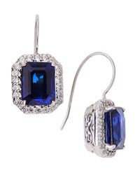 Fantasia by Deserio | Metallic Cz Pave & Synthetic Sapphire Earrings | Lyst