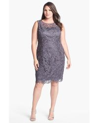 Adrianna Papell Gray Shirred Bead Sleeve Dress