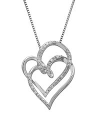 Lord & Taylor | Metallic Two Heart Diamond And Sterling Silver Pendant Necklace | Lyst