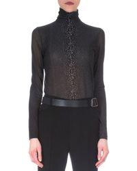 Akris - Gray Cashmere-blend Way-print Top - Lyst