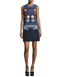 Peter Pilotto - Blue Embroidered Sleeveless Shift Dress - Lyst