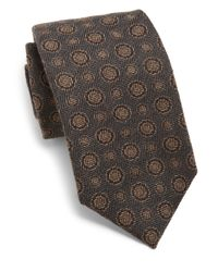 Isaia - Gray Circle Silk Tie for Men - Lyst
