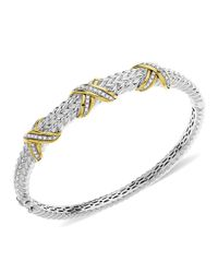 Lord & Taylor | Metallic Sterling Silver With 14kt. Yellow Gold Diamond Bangle Bracelet | Lyst