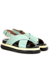 3f50e1c22e1b Lyst - Marni Leather Platform Sandals in Green